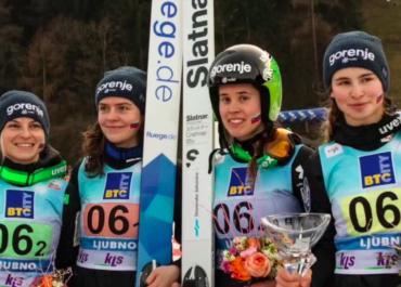 Słowenki wygrały drużynowy konkurs Pucharu Świata na średniej skoczni w Ljubnie.
