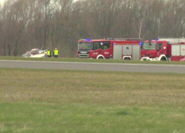 Groźnie wyglądający wypadek awionetki w Gliwicach.