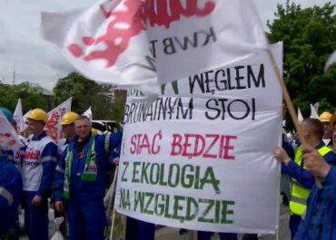 Protest górników z Turowa we Wrocławiu.