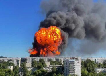 Silny wybuch na stacji benzynowej w okolicach Nowosybirska.