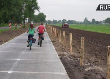 Najdłuższa na świecie ścieżka rowerowa, która jest wyłożona panelami fotowoltaicznymi, została otwarta w Holandii.